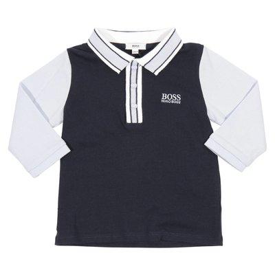 Polo blu navy in jersey di cotone con dettagli a contrasto