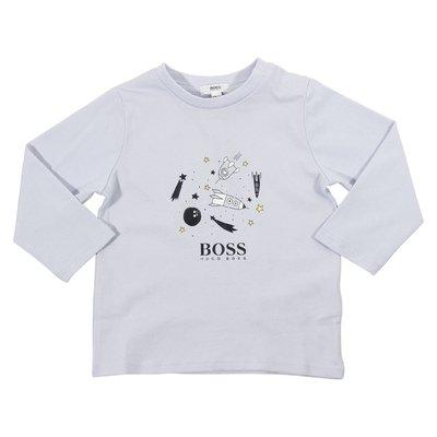 T-shirt celeste in jersey di cotone con logo