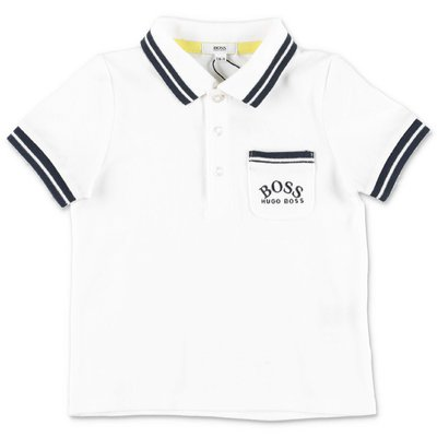HUGO BOSS white cotton piquet polo shirt