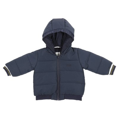 Navy blue nylon padded jacket with hood