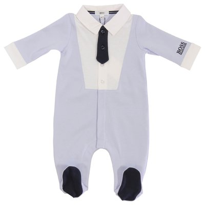 HUGO BOSS sky blue cotton jersey romper