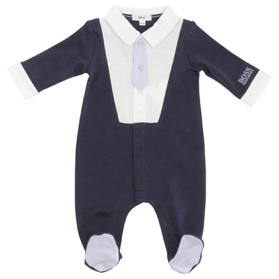 Blue cotton jersey romper