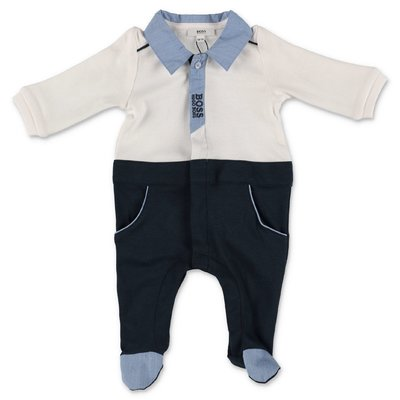 Hugo Boss white and blue cotton jersey & modal romper