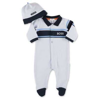 Hugo Boss light blue cotton piquet romper & hat set