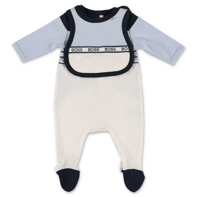 Hugo Boss color block cotton jersey set with romper & bib