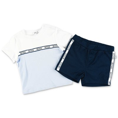 HUGO BOSS cotton set with light blue t-shirt and blue shorts