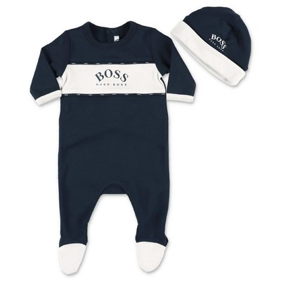 Blue cotton jersey HUGO BOSS baby boy two piece set