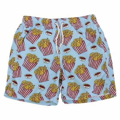 Fries sky blue nylon recycled swimshorts