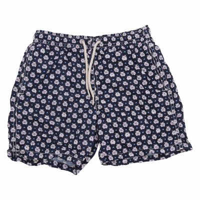 Blue pig print nylon swim shorts