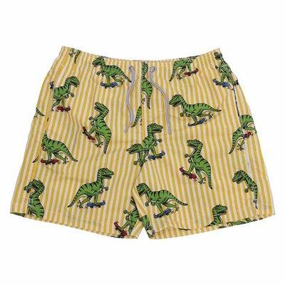 Costume shorts da mare a righe stampati in nylon
