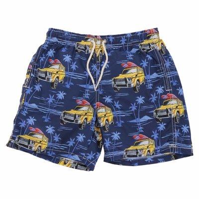 Costume shorts da mare colore blu navy in nylon riciclato
