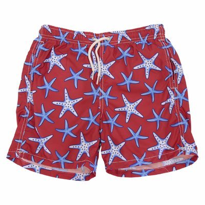 Red nylon recycled swimshorts
