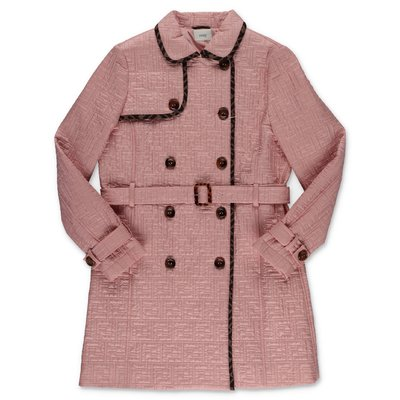 FENDI trench rosa cipria in nylon trapuntato