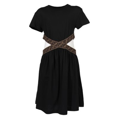 Black zucca print details cotton jersey dress
