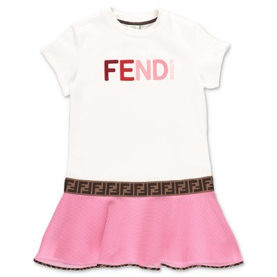 FENDI white logo detail cotton sweatshirt dress