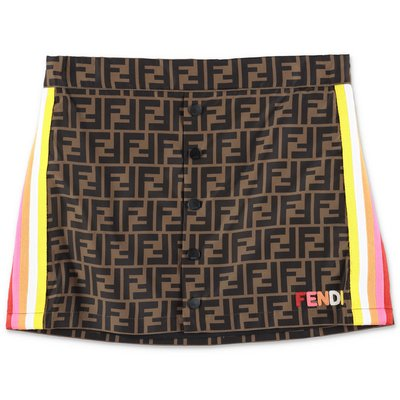 FENDI gonna marrone zucca print in nylon
