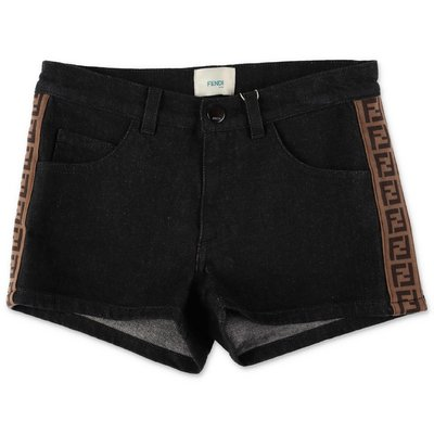 FENDI shorts neri in denim di cotone stretch