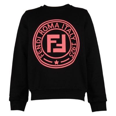 Felpa nera in cotone con logo FF