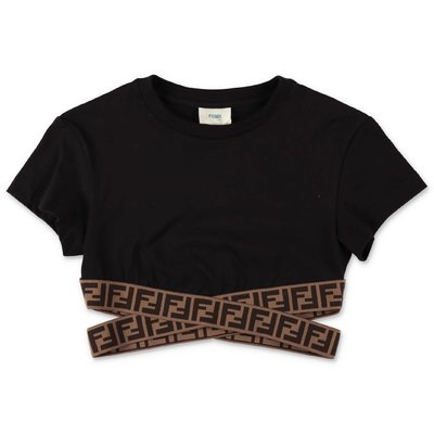 FENDI black zucca print detail cotton jersey top