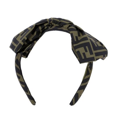 FENDI black and brown nylon headband with bow