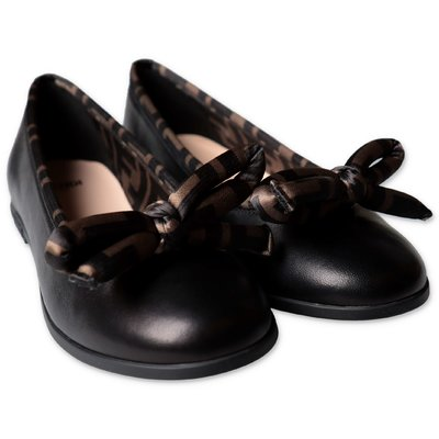FENDI black nappa ballerinas