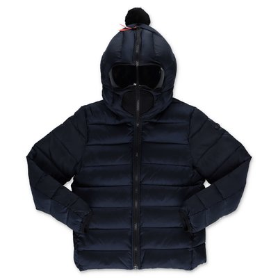AI RIDERS ON THE STORM navy blue nylon down feather jacket with hood