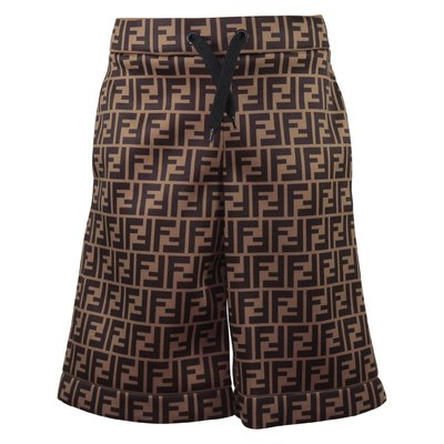 Brown jacquard logo detail techno fabric shorts