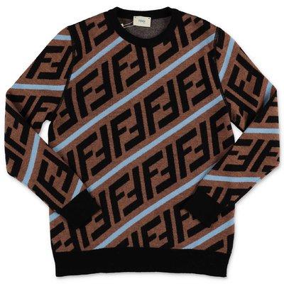 FENDI pullover zucca print in maglia di misto lana