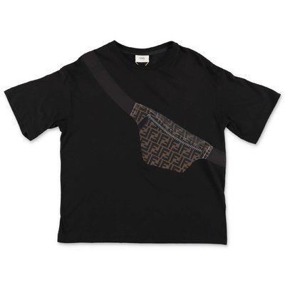 FENDI black trompe l'oeil print cotton jersey t-shirt