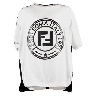 T-shirt bianca e nera in di cotone con logo FF