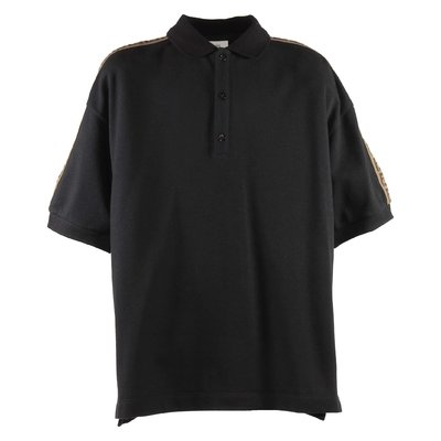 Black jacquard logo detail cotton piquet polo shirt