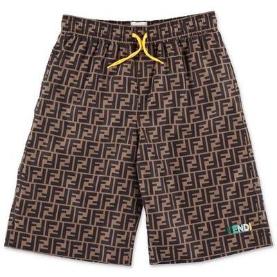 FENDI zucca print nylon swim shorts