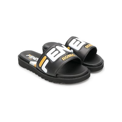 Logo detail black slide sandals