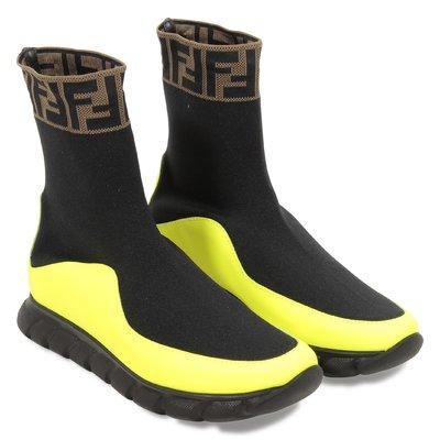 black logo scuba sock style sneakers