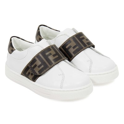 White FF logo detail velcro leather sneakers