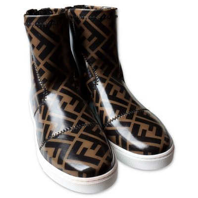 FENDI zucca print patent leather high sneakers