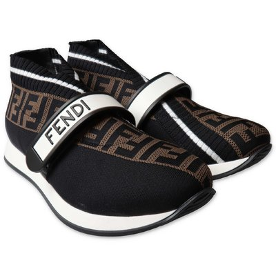 FENDI black jacquard logo knit slip-on sneakers