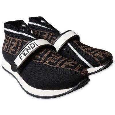 FENDI sneakers slip-on nere in maglia con logo jacquard