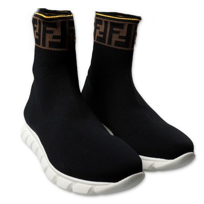 FENDI sneakers high top in tessuto tecnico nero con logo jacquard