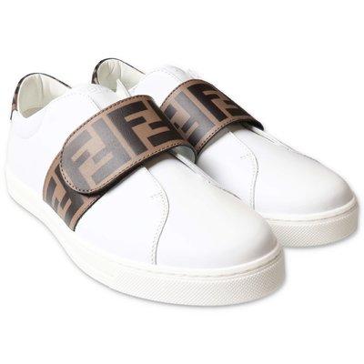 FENDI sneakers bianche in pelle con dettaglio zucca print