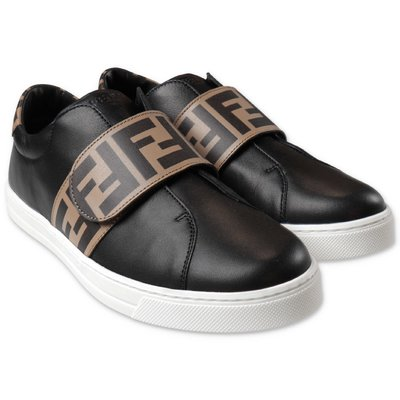 FENDI black FF logo detail calf sneakers