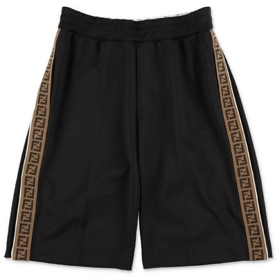FENDI black cotton blend shorts