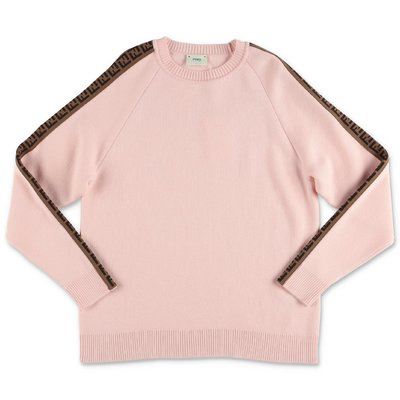 FENDI powder pink virgin pure wool knit jumper