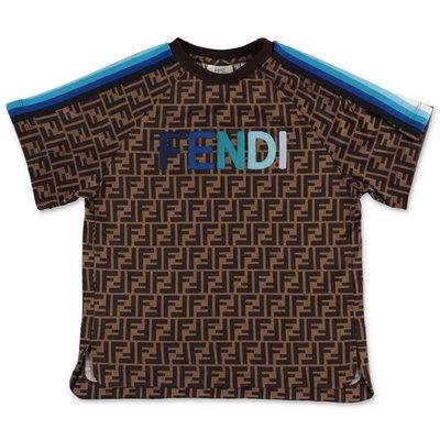 FENDI t-shirt zucca print in jersey di cotone