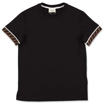 FENDI t-shirt nera in jersey di cotone