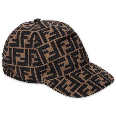 Brown jacquard logo detail baseball cap