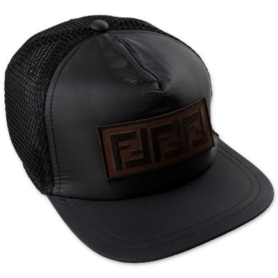 FENDI black techno fabric baseball cap