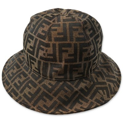 FENDI zucca print logo detail cotton canvas hat