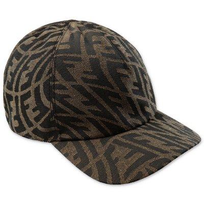 FENDI cappello baseball marrone con logo jacquard