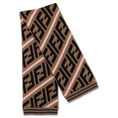 FENDI zucca print wool knit scarf